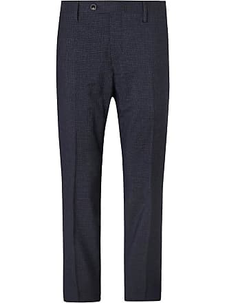 100s Super Checked blend Wool Navy Mr P fit Trousers Slim XITIYvn