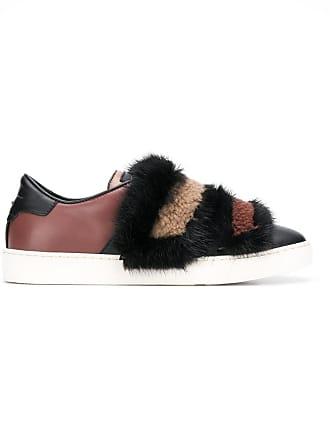 Mink Mink Santoni Santoni Detail Fur SneakersMarron K1cuFJl3T