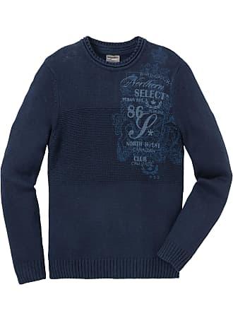 Avec Manches Recyclé Bleu Homme Pull À Imprimé Longues Pour Bonprix Coton 7AYqp8vw