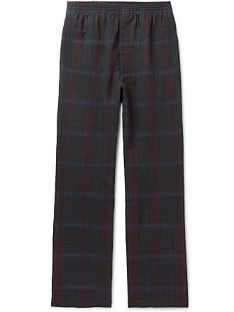 And Camoshita blend Linen Drawstring Wool TrousersNavy Checked uKc1FTJ3l