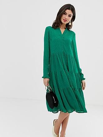 a s Y Midi Vestido Texturizadas Capas Con Verde De dggqv5