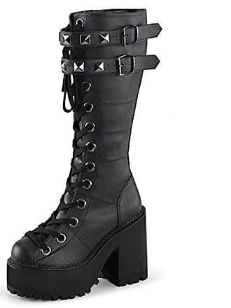 40 Higher Schwarz Gr Demonia 202 heels kniestiefel Assault Platform Damen qnz1fSAqw