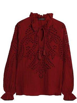 Mujer Tamaño de Blusa algodón Antik Broderie Batik 40 Anglaise Claret RxwqXn85S1