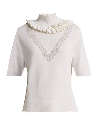 Womens Lace White Sweater Barrie Ruffled Cashmere Flying Xgxw0pqB