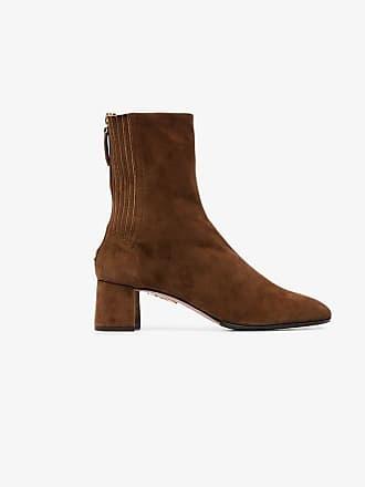 Saint boots suede ankle Aquazzura Honore 50 camel brown 7qwnTxPO