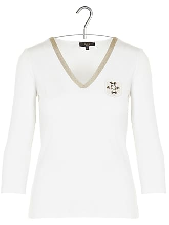 Brodé Coton 1 V 3 2 Col Tee Écusson À shirt Mélangé En 8wq8Xv5r