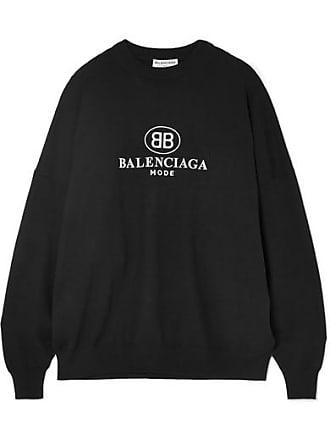 Noir Broderies Mélangée Laine Pull Balenciaga En À nxXS0Ytqw