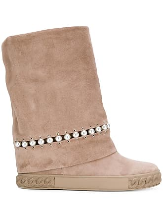 Embellished Boots Concealed Tons Neutres Casadei Pearl Wedge 7q8f75w