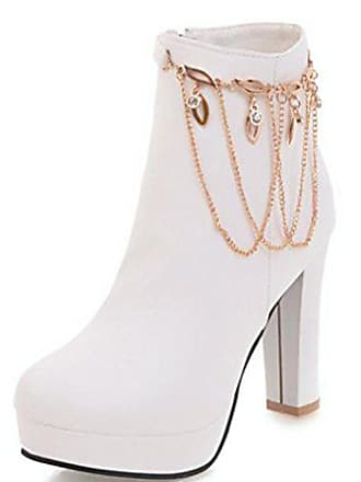 Easemax Elegant Weiß Top Zipper Heels Stiefeletten 35 Plateau Eu High Hohe Damen Pumps afxaqwAp