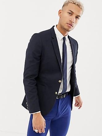 Ajusté Asos Wedding Marine Bleu Avec Blazer Boutons Navy Dorés rppEvq