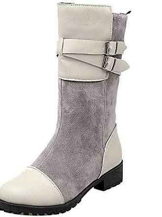 Boots Asian Damen Winter 39 Biker Flach Halbschaft Mid Herbst Razamaza Stiefel Stiefeletten Grey Komfort Gr qtw6adwxT