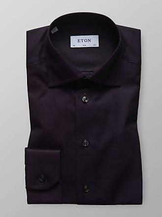 Eton Twill Shirt Dark Purple Slim Fit wxqBpfa