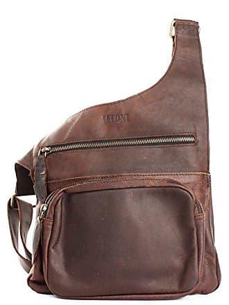 Le3015 Und Crossbag Ledertasche Used Vintage style Dunkelbraun Leconi Bodybag Leder Damen Natur Herren wax look Praktische 25x24x5cm Umhängetasche Kleine wk0OPn8