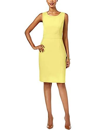 Kasper Womens Solid Stretch Crepe Sheath Dress, Limoncello, 18
