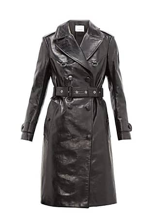 7a9c33953b7 Burberry Tintagel Double Breasted Leather Trench Coat - Womens - Black