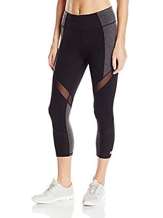 88c1a56dcbb57 Betsey Johnson Womens Wrap Around Mesh Colorblock Crop Legging, Black/Charcoal  Heather Grey L