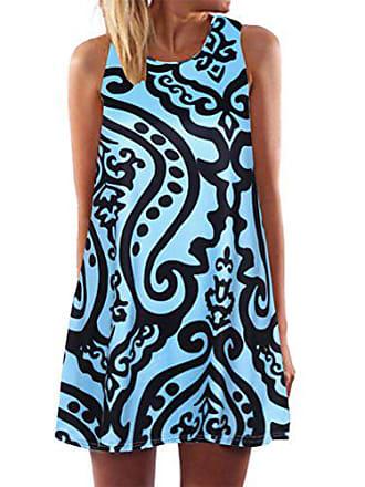 Oyedens Frauen Damen Schulterfrei Sommerkleid Elegant Ärmellos Große Größe  Strandkleid Minikleid V-Ausschnitt Casual Strandkleid 0decda1ee0