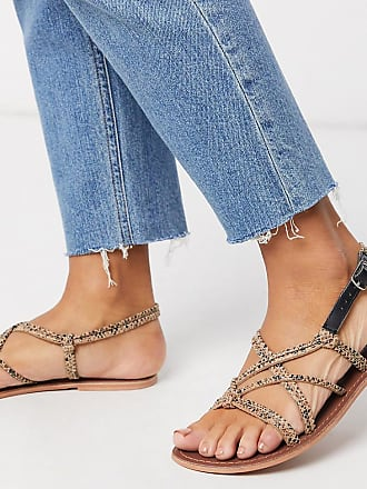 Warehouse knotted strappy sandals in snake-Grey