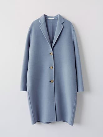 Acne Studios Avalon Double Pale blue melange Masculine tailored long coat