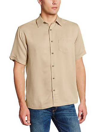Cubavera Mens Short Sleeve Tonal Stitching Button-Down Cuban Camp Shirt, Bleached Sand, Extra Large