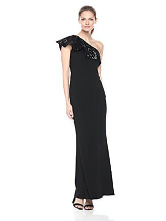 508da8f29f2 Aidan Mattox Womens One Shoulder Sequin Ruffle Scuba Crepe Gown, Black, 6