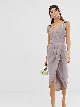 Tfnc bridesmaid exclusive wrap midi dress with embellished shoulder in gray - Gray