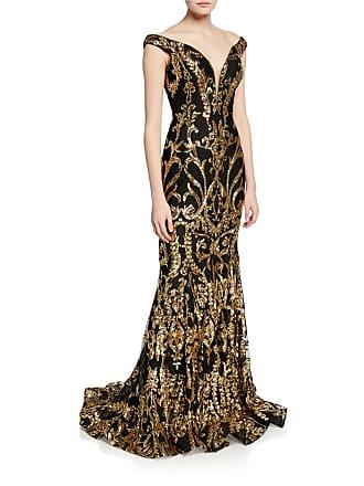 751ebfe85a Jovani Sequined Off-the-Shoulder Plunge V-Neck Mermaid Gown