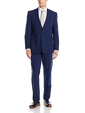 U.S.Polo Association Mens Two Button Pinfeather Twill Nested Suit, Navy, 44 Long