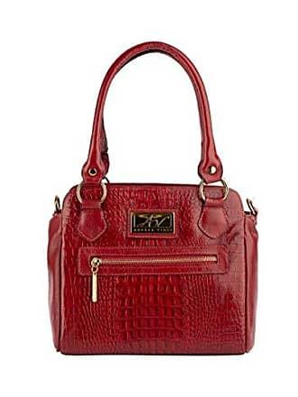 Andrea Vinci Bolsa de couro legítimo Amélia vermelha