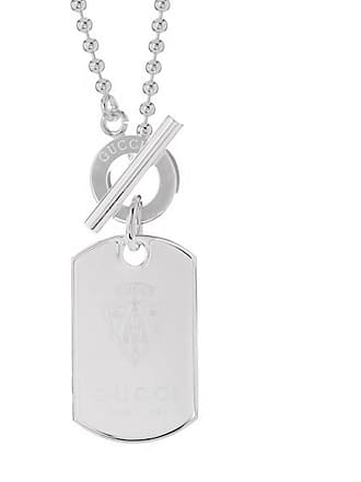 Gucci Crest Dog Tag Silver Necklace