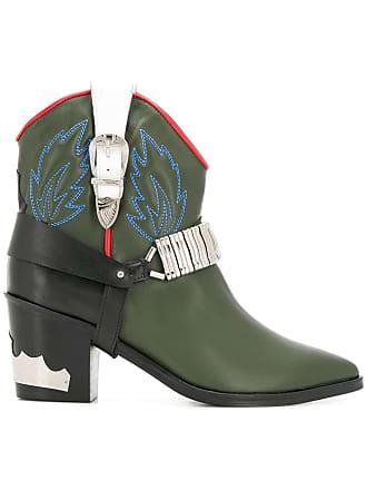 Toga Archives Ankle boot cowboy de couro - Verde
