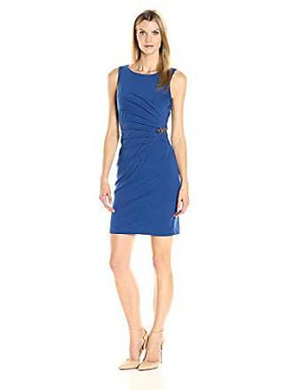 Ivanka Trump Womens Sleeveless Side Ruched Starburst Dress with Chain, DEA Sea, 14