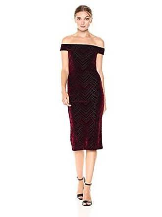 Dress The Population Womens Eden Flocked Velvet Sheath, Burgundy/Black, XL