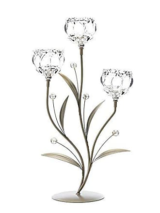Zingz & Thingz Sunshine Megastore Crystal Flower Triple Candle Holder
