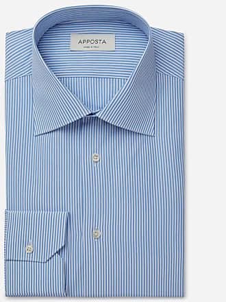 Apposta Shirt stripes blue 100% pure cotton fil-à-fil, collar style regular straight point collar