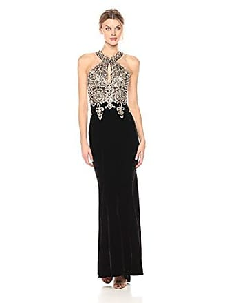 Xscape Womens Long Velvet Halter with Embroidery, Black/Gold, 4