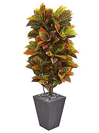Nearly Natural Croton Artificial Plant in Slate Planter 5.5