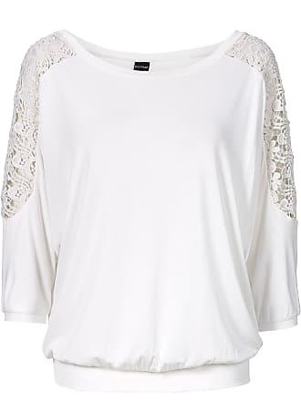 5697b1047a10bb Bodyflirt Oversized-Shirt mit Spitze 3 4 Arm in weiß von bonprix