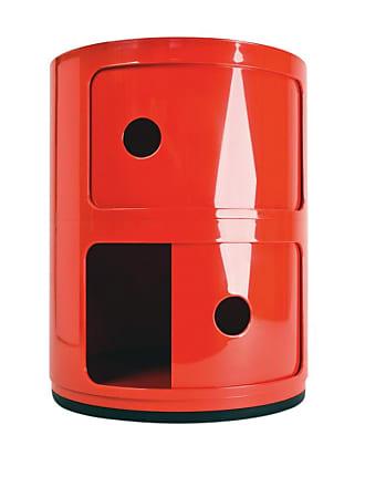 Kartell Componibili 2 Container - rot/glänzend/H 40cm/ Ø 32cm