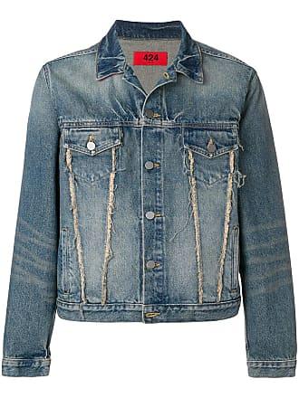 424 frayed detail denim jacket - Azul