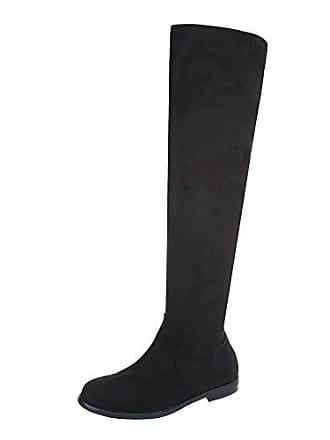 8ea3d13838cd32 Ital-Design Overknees Damen-Schuhe Overknees Blockabsatz Blockabsatz  Reißverschluss Stiefel Schwarz