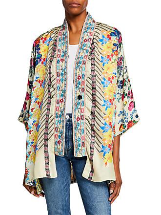 63ff42d397e Johnny Was Plus Size Bonian Floral-Print One-Button Silk Twill Kimono w/