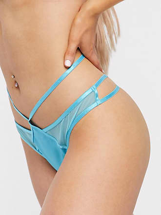 Wolf & Whistle strapping detail thong in turquoise-Green