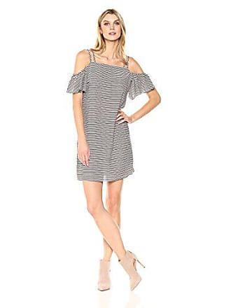 MSK Womens Double Strap Ruffle Cold Shoulder Dress, Ivory/Black, 6