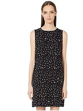 Eileen Fisher Hand Printed Cotton Dot Round Neck Dress (Black/White) Womens Clothing