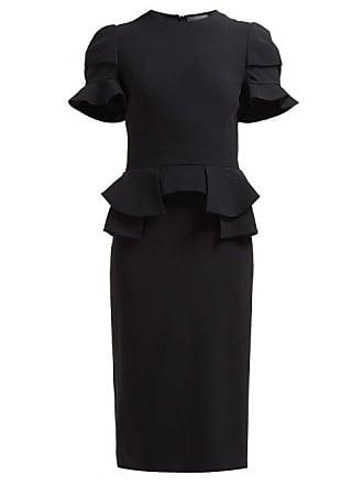 727c16f33824 Alexander McQueen Alexander Mcqueen - Peplum Waist Crepe Dress - Womens -  Black
