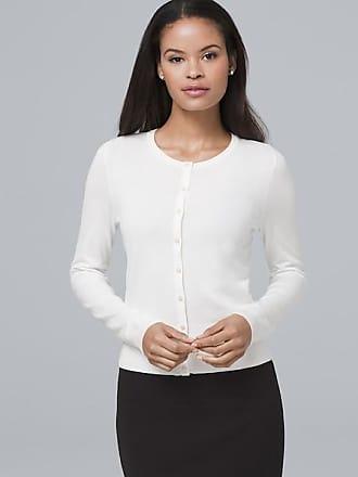 White House Black Market Womens Faux Pearl & Pavé Button-Front Cardigan by White House Black Market, Ecru, Size XL