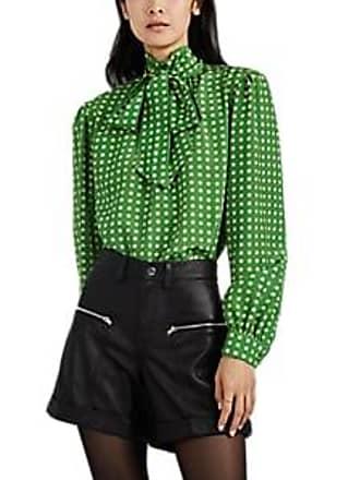 bf8c70f0bfeb Saint Laurent Womens Star-Print Silk Tieneck Blouse - Green Size 36 FR