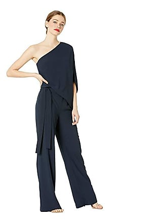 6d767ade839b Halston Heritage Asymmetrical Crepe Jumpsuit (Navy) Womens Jumpsuit    Rompers One Piece