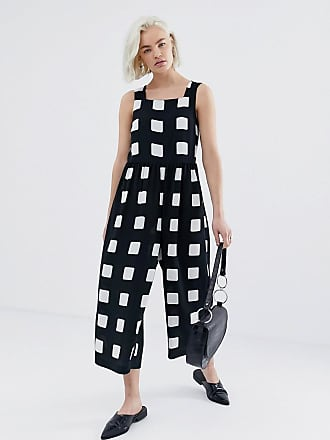 47adaa5ecfed Asos minimal jumpsuit with ruched waist in mono check print - Multi